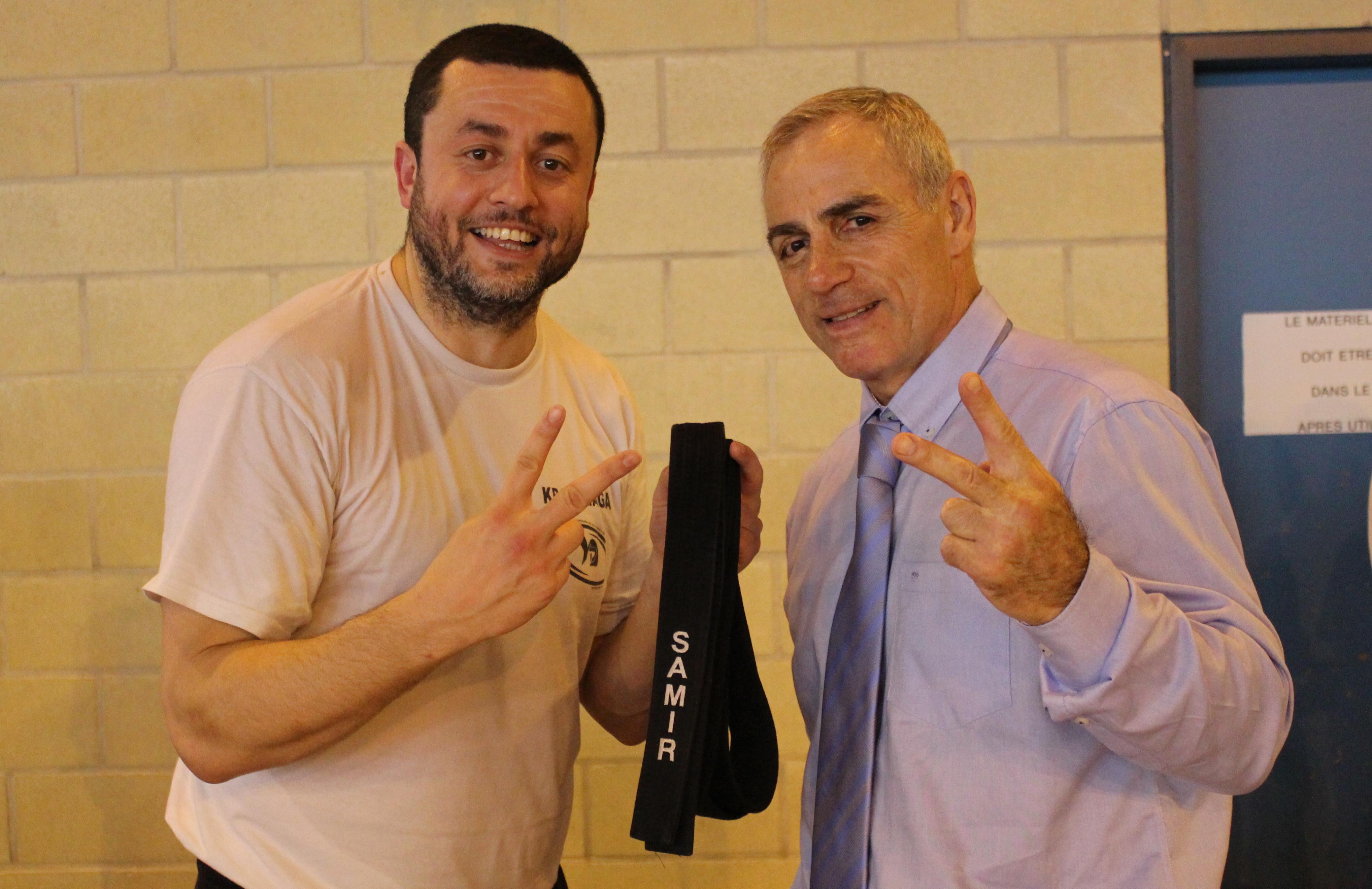 Samir OUBOUDINAR et Richard Doueib lors de la remise de la ceinture noire 2ème Darga